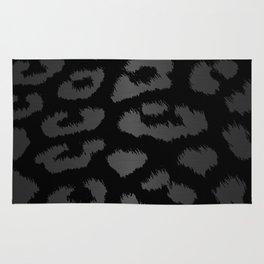 Black & Gray Metallic Leopard Print Rug