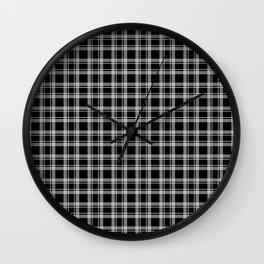 Black and white tartan plaid . Wall Clock