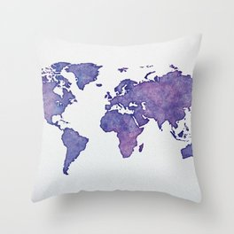 Purple World Map 02 Throw Pillow