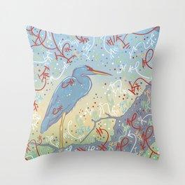 Very Blue Great Blue Heron Throw Pillow