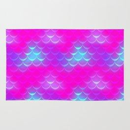 Pink and Blue Mermaid Tail Abstraction. Magic Fish Scale Pattern Rug
