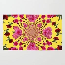modern art cerise pink & yellow Rug