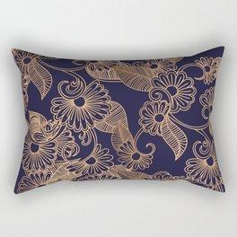 Flower Golden Rectangular Pillow