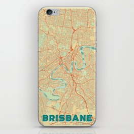 Brisbane Map Retro iPhone Skin