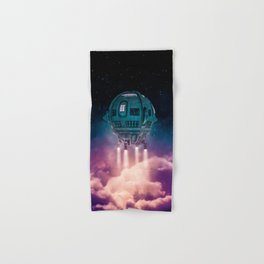 Out of the atmosphere / 3D render of spaceship rising above clouds Hand & Bath Towel