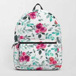 Watercolor fuchsia turquoise hand painted floral Backpack