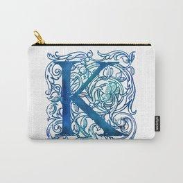 Letter K Antique Floral Letterpress Carry-All Pouch