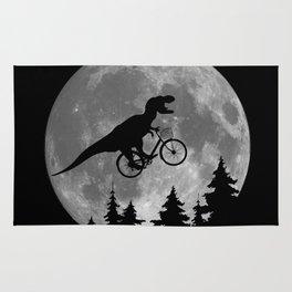 Biker t rex In Sky With Moon 80s Parody Rug