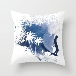 The Longboard Surfer Throw Pillow