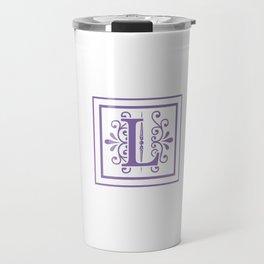 Monogram Letter L in Violet and White Travel Mug