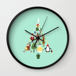 Christmas tree with reindeer, Santa Claus and bear Wall Clock