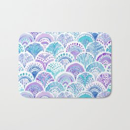 Mystical MERMAID DAYDREAMS Watercolor Scales Bath Mat
