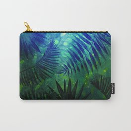 Blue Aloha - Morning Light abstract Tropical Palm Leaves and Monstera Leaf Garden Carry-All Pouch