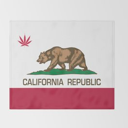 California Republic state flag with red Cannabis leaf Throw Blanket