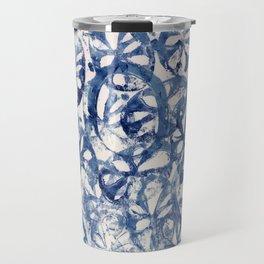 Organic Abstract in Blue Travel Mug