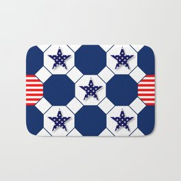 Nautical Patriotic Hexagons Bath Mat