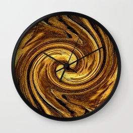 Gold Brown Abstract Sun Rotation Pattern Wall Clock