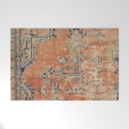 Vintage Woven Navy and Orange Welcome Mat