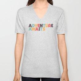 Adventure Awaits Retro Rainbow Typography Unisex V-Neck