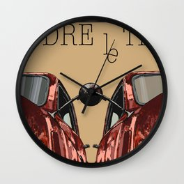 Art print: vintage car Take your time «Prendre le temps» typo art Wall Clock