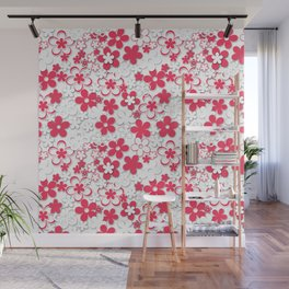 Red and white paper flowers 2 Wall Mural