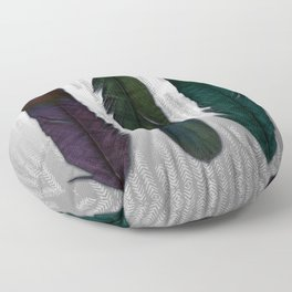 Feathers on silver Floor Pillow