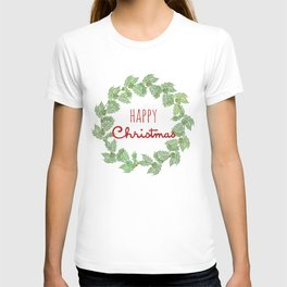Happy Christmas wreath holly and berries T-shirt