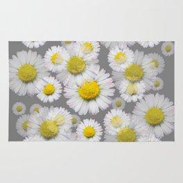 GREY GARDEN OF SHASTA DAISY FLOWERS ART Rug