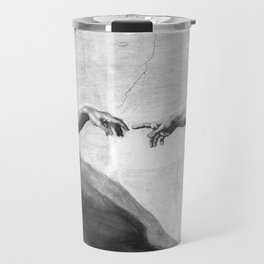 Black and White Creation of Adam Painting by Michelangelo Sistine Chapel Travel Mug