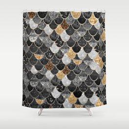REALLY MERMAID BLACK GOLD Shower Curtain