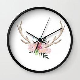 watercolor horns Wall Clock