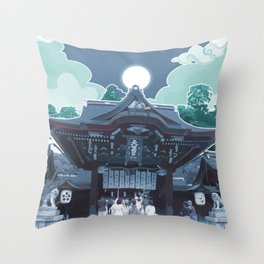 Night in Japan Throw Pillow
