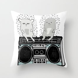 Hedgehogs on Boombox Throw Pillow