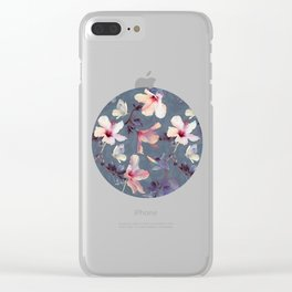 Butterflies and Hibiscus Flowers - a painted pattern Clear iPhone Case