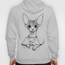 Big Eyed Pretty Wrinkly Kitty - Sphynx Cat Illustration - Nekkie - Cat Lover Gift Hoody