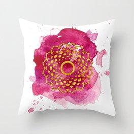 Crown Chakra Watercolour Painting Throw Pillow