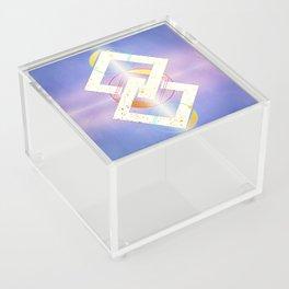 Linked Lilac Diamonds :: Floating Geometry Acrylic Box