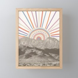 Summerlin Mountain Up // Abstract Vintage Mountains Summer Sun Surf Beach Vibe Drawing Happy Wall Ha Framed Mini Art Print