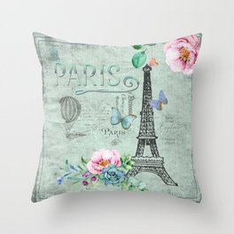 Paris - my love - France Eiffeltower Nostalgy - French Vintage Throw Pillow