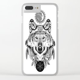 Bohemian Celestial Wolf Clear iPhone Case