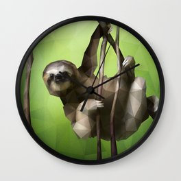 Sloth (Low Poly Lime) Wall Clock