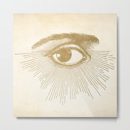 I See You. Vintage Gold Antique Paper Metal Print