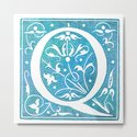 Letter Q Antique Floral Letterpress Monogram by littlebunnywordtime
