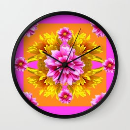 FUCHSIA PINK DAHLIAS & YELLOW SUNFLOWERS GARDEN ART Wall Clock