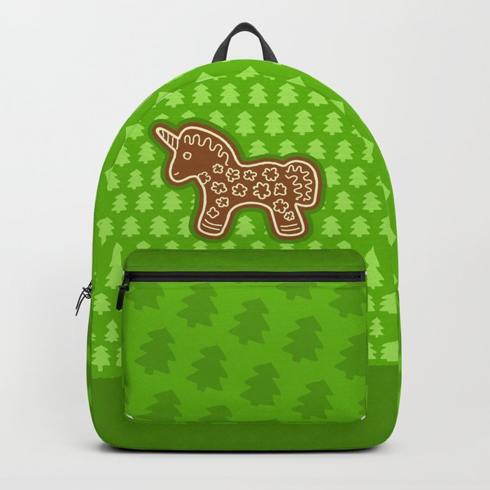Gingerbread Unicorn on Green Background Backpack
