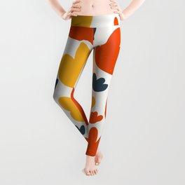 Heart Flowers Yellow Orange Blue Abstract Art Pattern Leggings