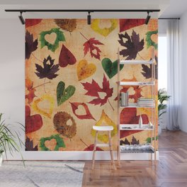 Happy autumn - hearts and leaves pattern Wall Mural