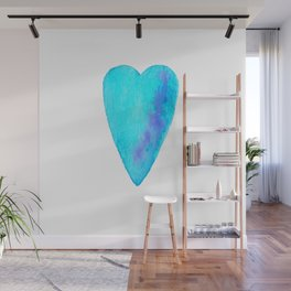 Turquoise Heart Full Of Love Watercolor Wall Mural