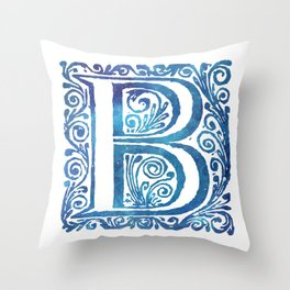 Letter B Antique Floral Letterpress Monogram Throw Pillow