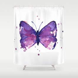 Butterfly Purple Watercolor Animal Shower Curtain